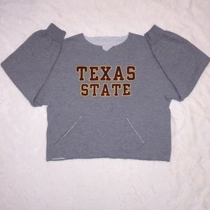 Tops - Texas State Distressed Sweatshirt Sewn lettering